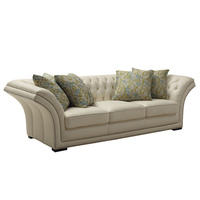Tyle Sofa Three Seater With Hand Carved Solid Wood Frame