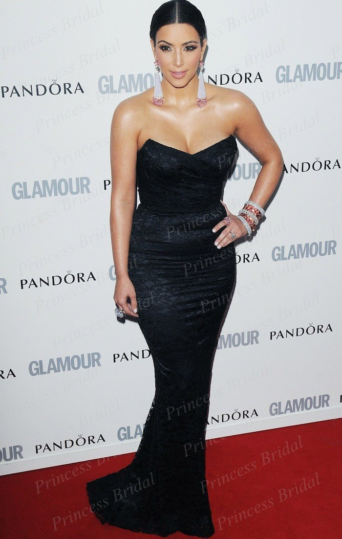 timeless fishtail kim kardashian black strapless lace