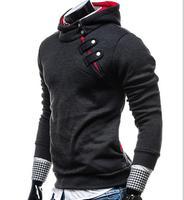 Пуловер С Капюшоном Sweatershirts человек Для мужчин с длинным рукавом сбоку Толстовки с капюшоном на молнии с украшением в виде пряжки Тонкий 2017 ...