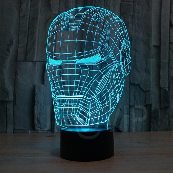 JC-2822 3D illusion iron man mask shape LED table lamp as gift free shipping  (4)