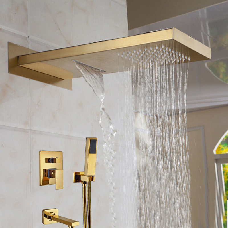 Wholesale And Retail Solid Brass Waterfall Bathroom Rain Shower Head Single Handle Valve Mixer Tap Tub Spout W/ Hand Shower