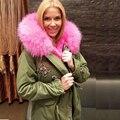 Короткие Бисероплетение 6 Цвет Большой Настоящее Меховым Воротником, г-жа модные зимние меховые пальто, короткие миссис куртку картины для г-н & г-жа тонкий износ