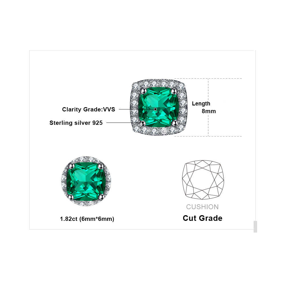 Jewelrypalace Cushion 2 1ct Nano Russian Created Emerald Halo Stud Earrings Solid 925 Sterling Silver Stylish Women Accessories