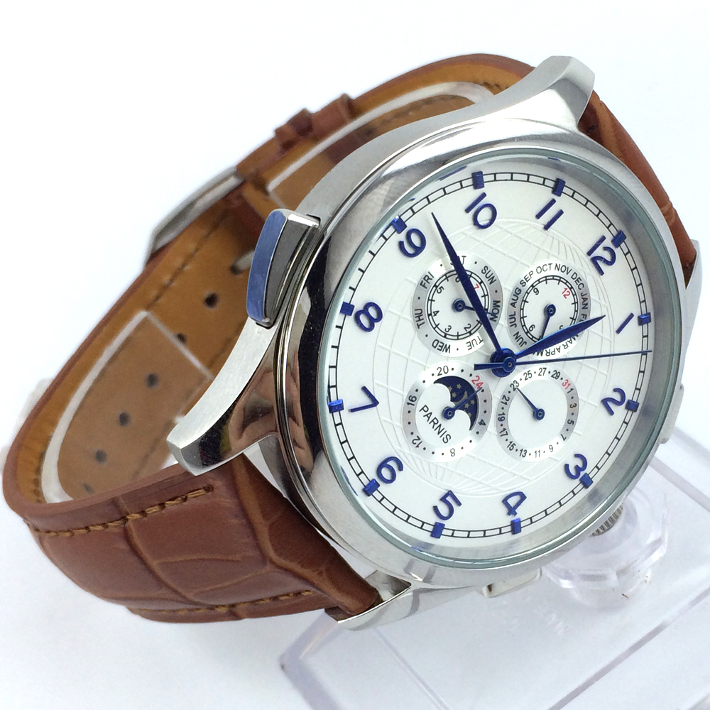 44mm parnis white dial blue marks Moon Phase brown leather automatic mens watch все цены