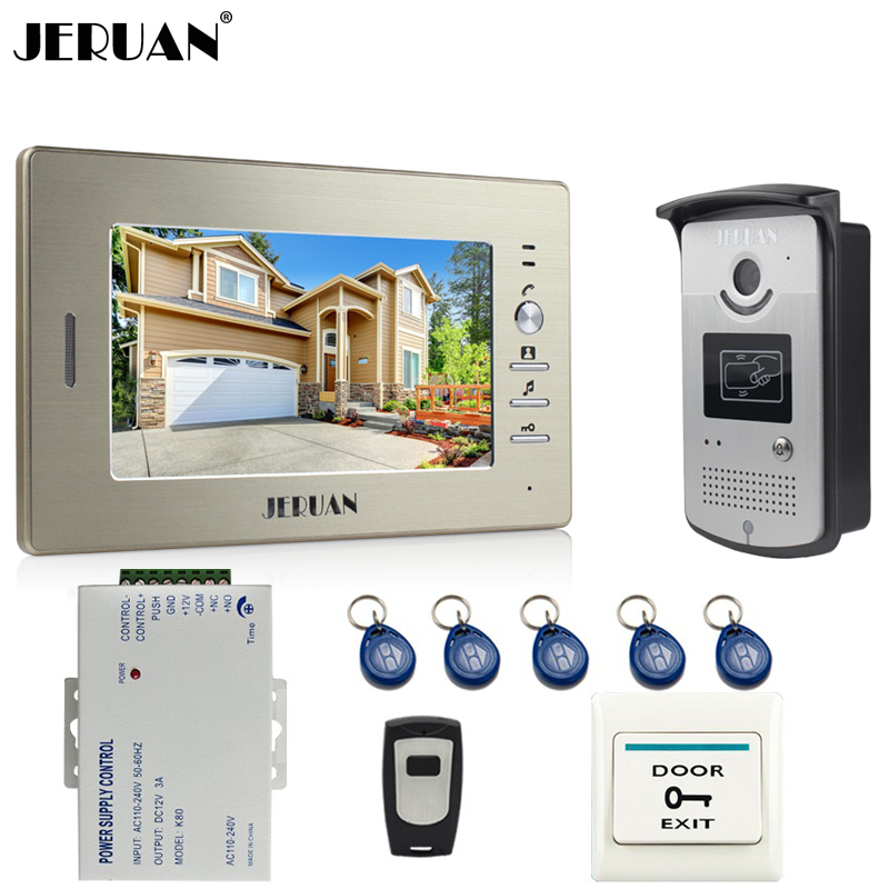 JERUAN Home 7 inch LCD Screen Video Door Phone Intercom System 1 Monitor + 700TVL RFID Access Camera + Remote Control In stock jeruan home 7 video door phone intercom system kit 1 white monitor metal 700tvl ir pinhole camera rfid access control in stock