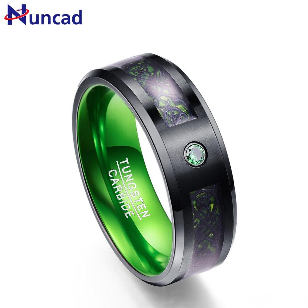 Nuncad T046R 8mm de largura verde fibra de carbono Anéis de Carboneto de Tungstênio para a mulher homens partido anel de casamento EUA tamanho 7 -12