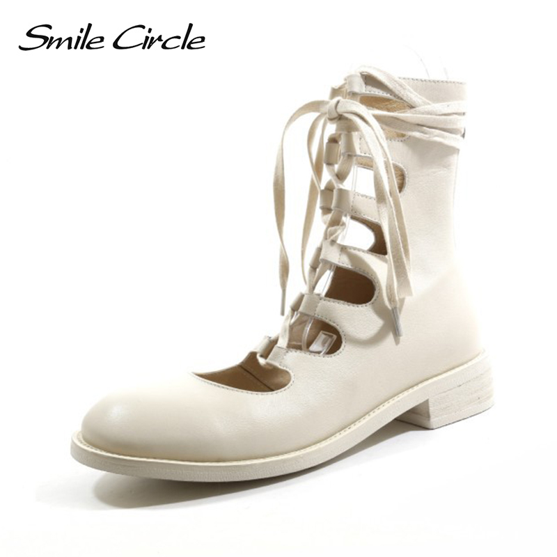 Smile Circle 2019 Summer High top Sandals Flat Women Fashion Retro Roman style Genuine Leather hemp