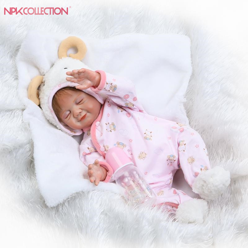 NPKCOLLECTION 2017 NEW wholesale reborn baby doll full vinyl body with girl gender doll gift for kids on Birthday pink wool coat doll clothes with belt for 18 american girl doll