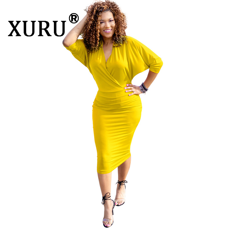 XURU Summer New Womens V-Neck Sexy Dress Solid Color Bat Sleeve Short Irregular