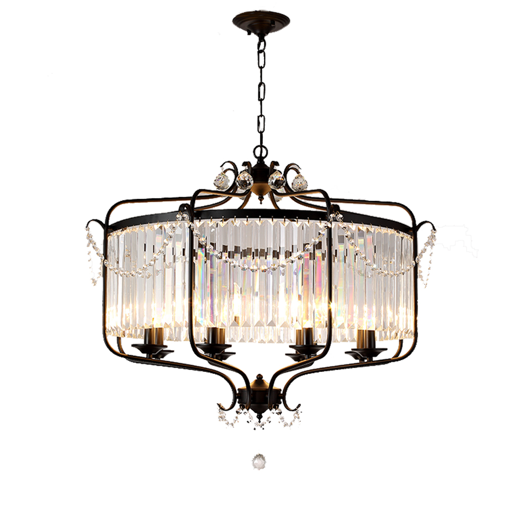 Modern luxury e14 gold black iron crystal glass led chandelier lighting fixtures for loft staircase living room bathroom lamp