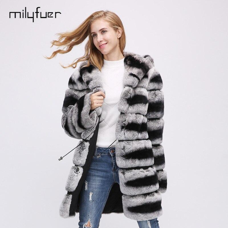 Milyfuer Rex Rabbit Real Fur Coat Women Jacket Mult Corlor Fur Overcoat Rabbit Fur Collar Autumn Winter Keep Warm Plaid Slim