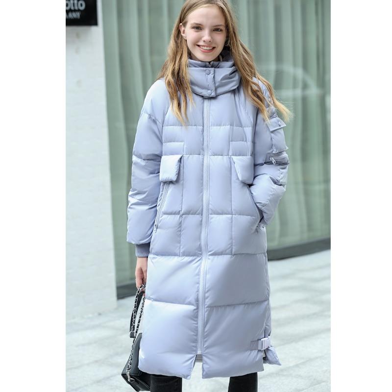Amii Minimalist Oversized Pink Hooded 90%   Down     Coat   2018 Winter New Solid Zipper Warm Female Long   Down   Jacket