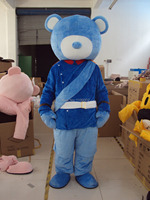 NEW adult size Version happy cute new blue bear Mascot Costume Character Halloween Costumes Fancy Dress Suit Free Shipping