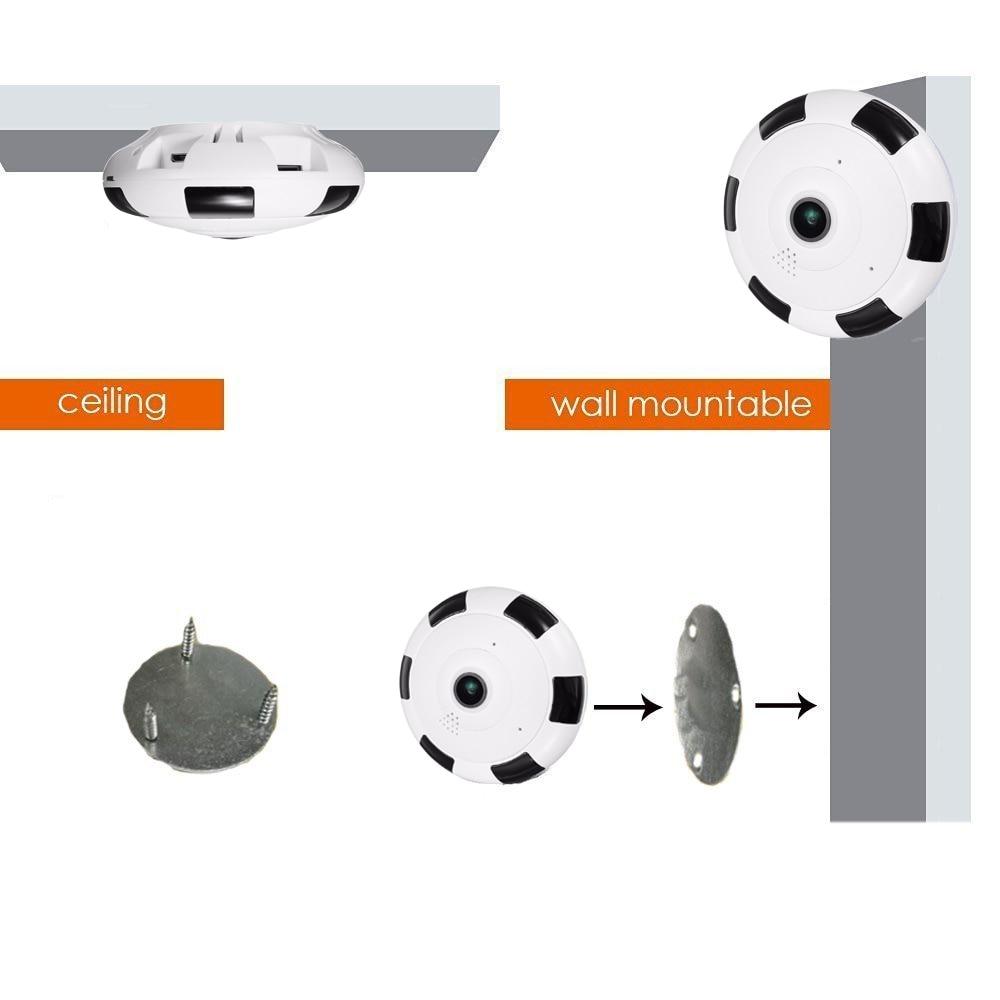 Купить с кэшбэком Kruiqi HD 1080P WiFi IP Camera 360 Degree 1.3MP Wireless Fisheye CCTV Mini Camera Video Storage Max 64GB Remote IR-CUT Audio-in