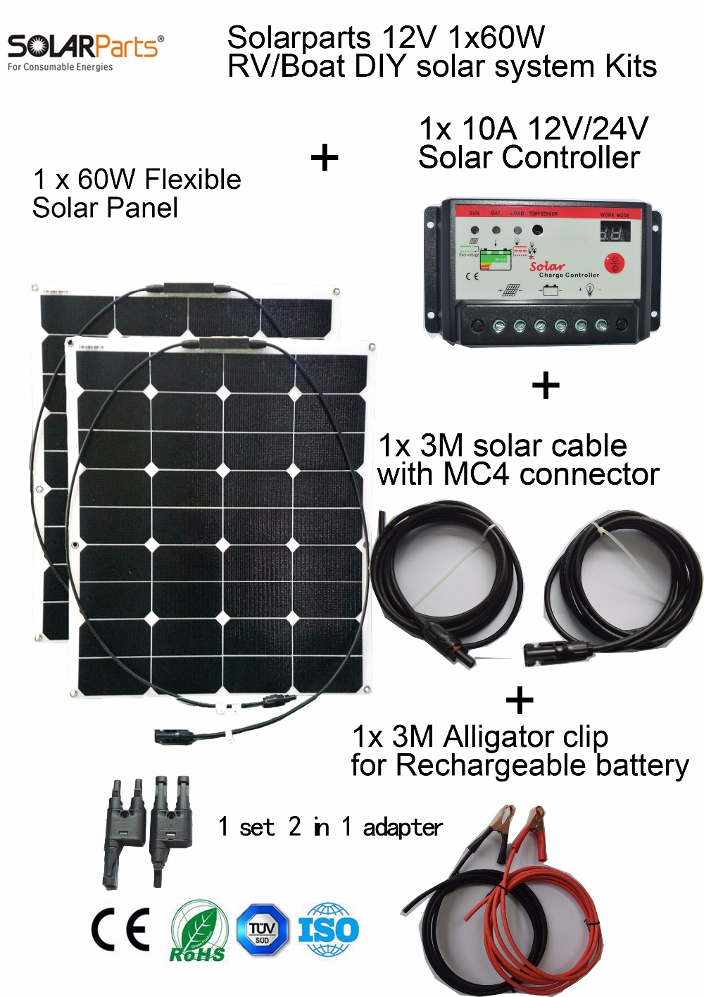 все цены на Boguang 2X60W ETFE flexible solar panel DIY RV/boat Kits system with 2x60 solar panel+1x10A controller+1set 3M MC4 cable & cilp. онлайн