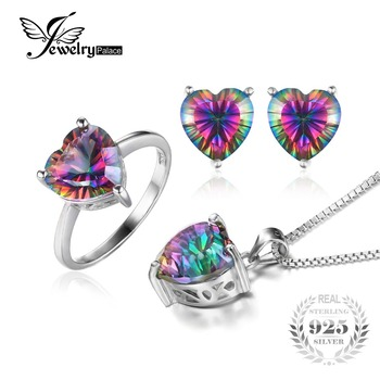 JewelryPalace Heart 4.1ct Genuine Rainbow Fire Mystic Topaz Ring Pendant Earring Set 925 Sterling Silver Fashion Jewelry silver topaz heart ring