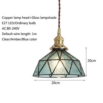 Lampes Suspendues Vintage   Vintage E27 Led à La Main En Laiton Lampe Tête Verre Abat-jour Pendentif Lumières Cuisine Chambre Chevet Allée Restaurant Suspension Lampe