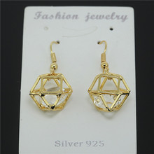 1pair luxury crystal dangle women earring high quality gold color color charm earring for fashion jewelry