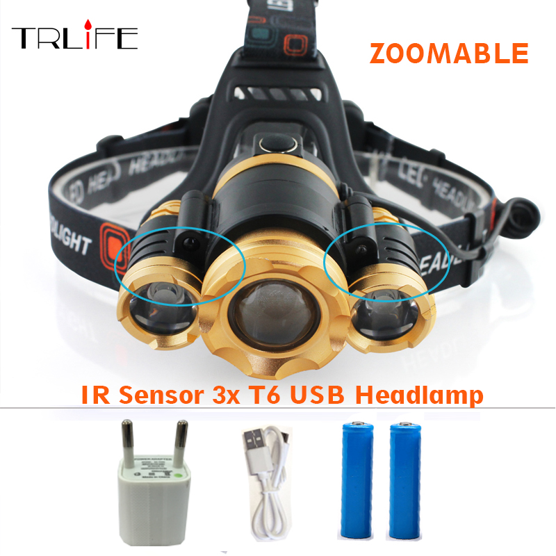 30W IR Sensor 3x T6 Headlight Induction led Usb Rechargeable Lantern Headlamp 12000 Lumen 4 mode High Power LED Head lamp