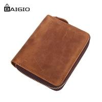 Baigio Wallet Men Vintage Style Crazy Horse Leather Wallet 2 Colors High Quality Genuine Short Men