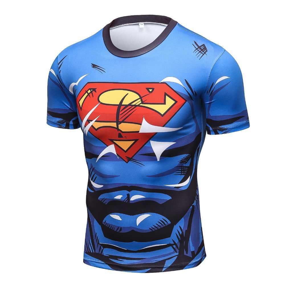 2017 חדש דחיסת חולצה אנימה גיבור המעניש קפטן אמריקה סופרמן 3D T חולצה כושר גרביונים שכבת בסיס T חולצות
