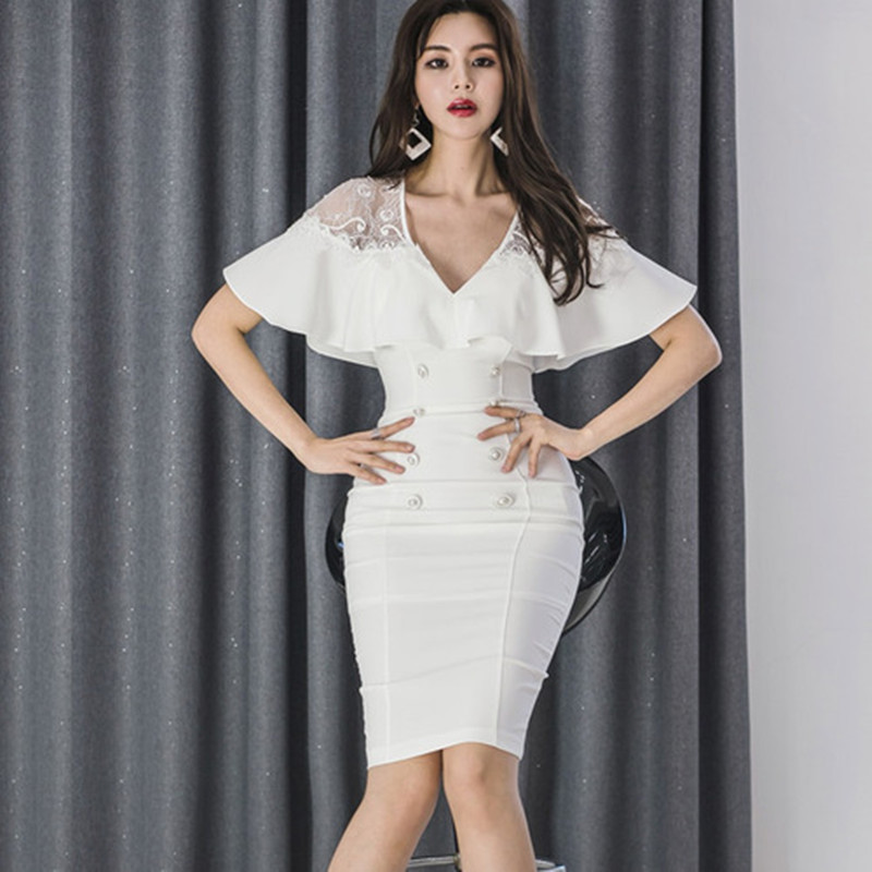 2019 Summer Lace Patchwork V-Neck Women White Cloth Bodycon Knee-Length Pencil Double Breasted <font><b>Cap</b></font> <font><b>Sexy</b></font> Party Dress image