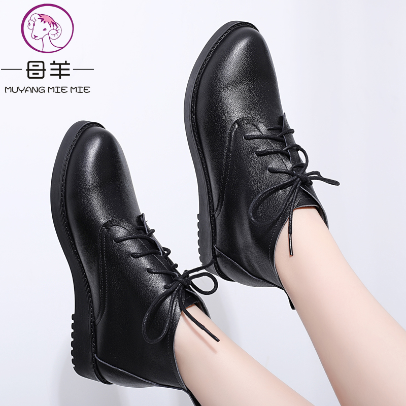MUYANG MIE MIE Winter Women Boots Women Genuine Leather Flat Snow Boots 2019 Plus Size 34