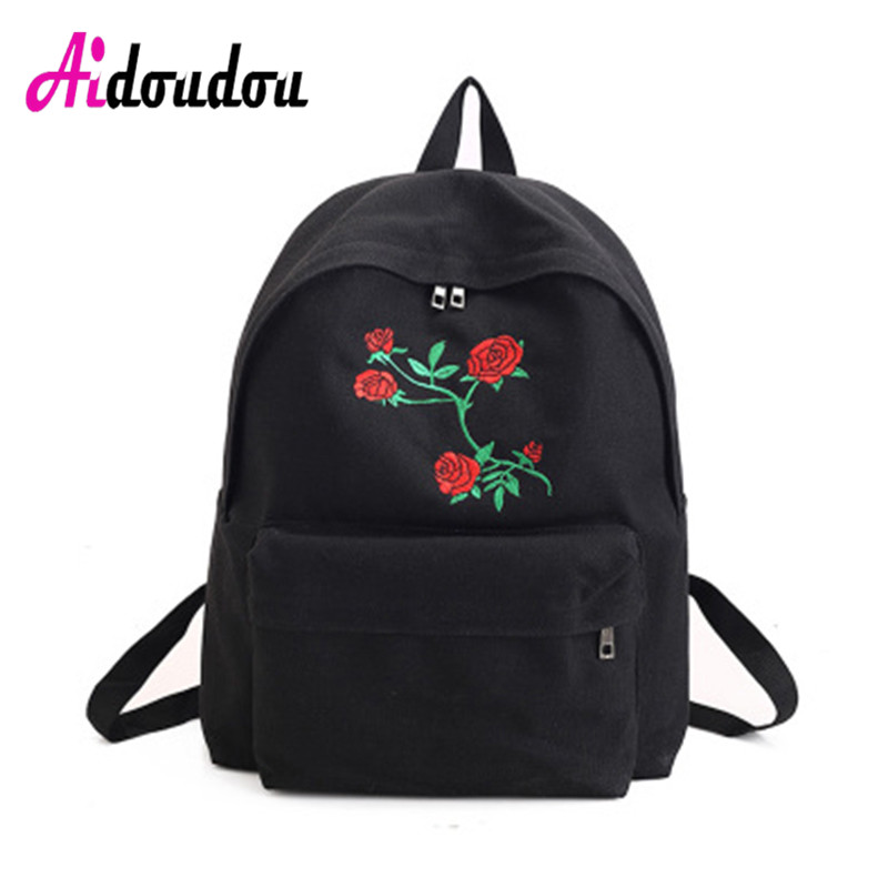 Harajuku Backpack Rose Embroidery Backpack Women Travel Back Pack Canvas Students Canvas Shoulder Bag Flower Embroidery