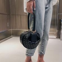 Rivet Top-handle Handbags Women PU Leather 2019 Hobos European Style Vintage Shoulder Bag Women Dumpling Shape Totes Mini Bags