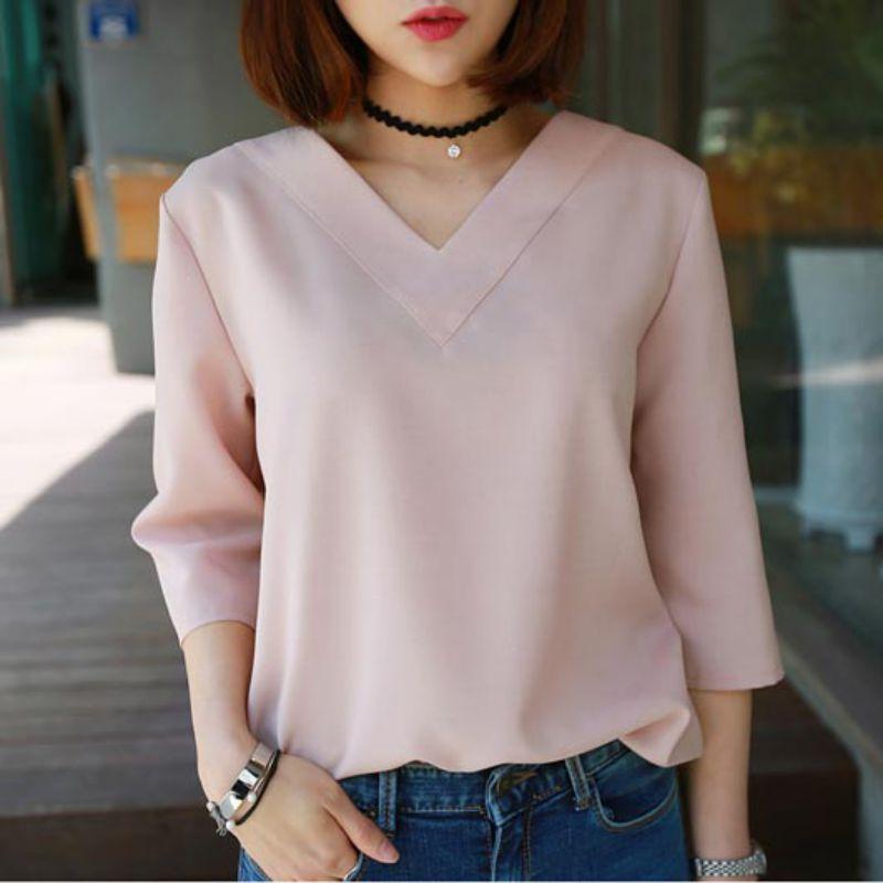 Summer V-neck Chiffon Blouse Women Office Ladies Top Work Shirts Clothing Korean White Gray Pink S-XL