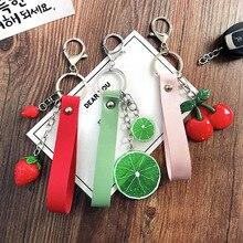 Korean Cute Acrylic Fruit Rope Keychains Women Bags Pendant Cars Keyrings Pitaya lemon Cherry Strawberry pineapple watermelon