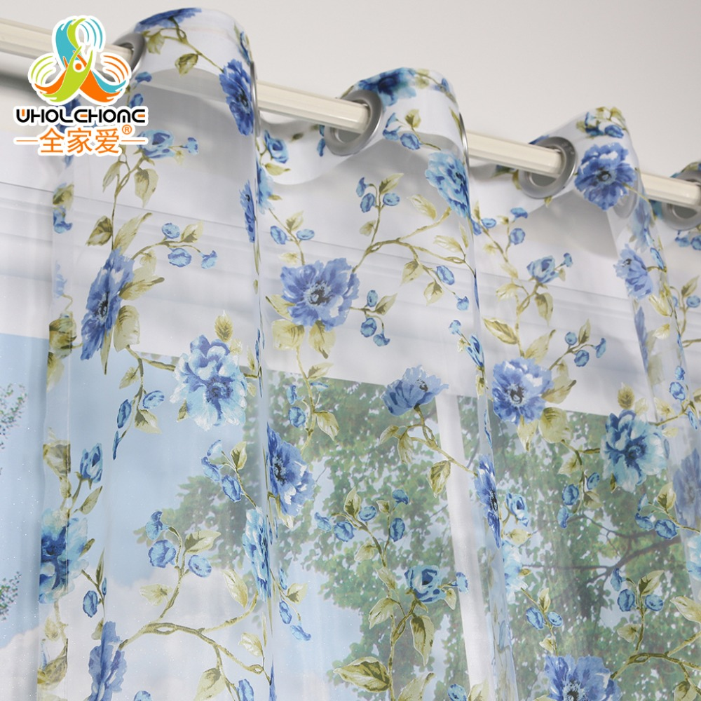 Window Curtain Blue Flowers Transparent Sheer Voile Fabric For Home Living Room Screening 1PCS/Lot