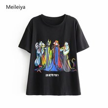 2019 new Snow White cartoon printed short-sleeve T-shirt woman O-Neck Tops tees famale
