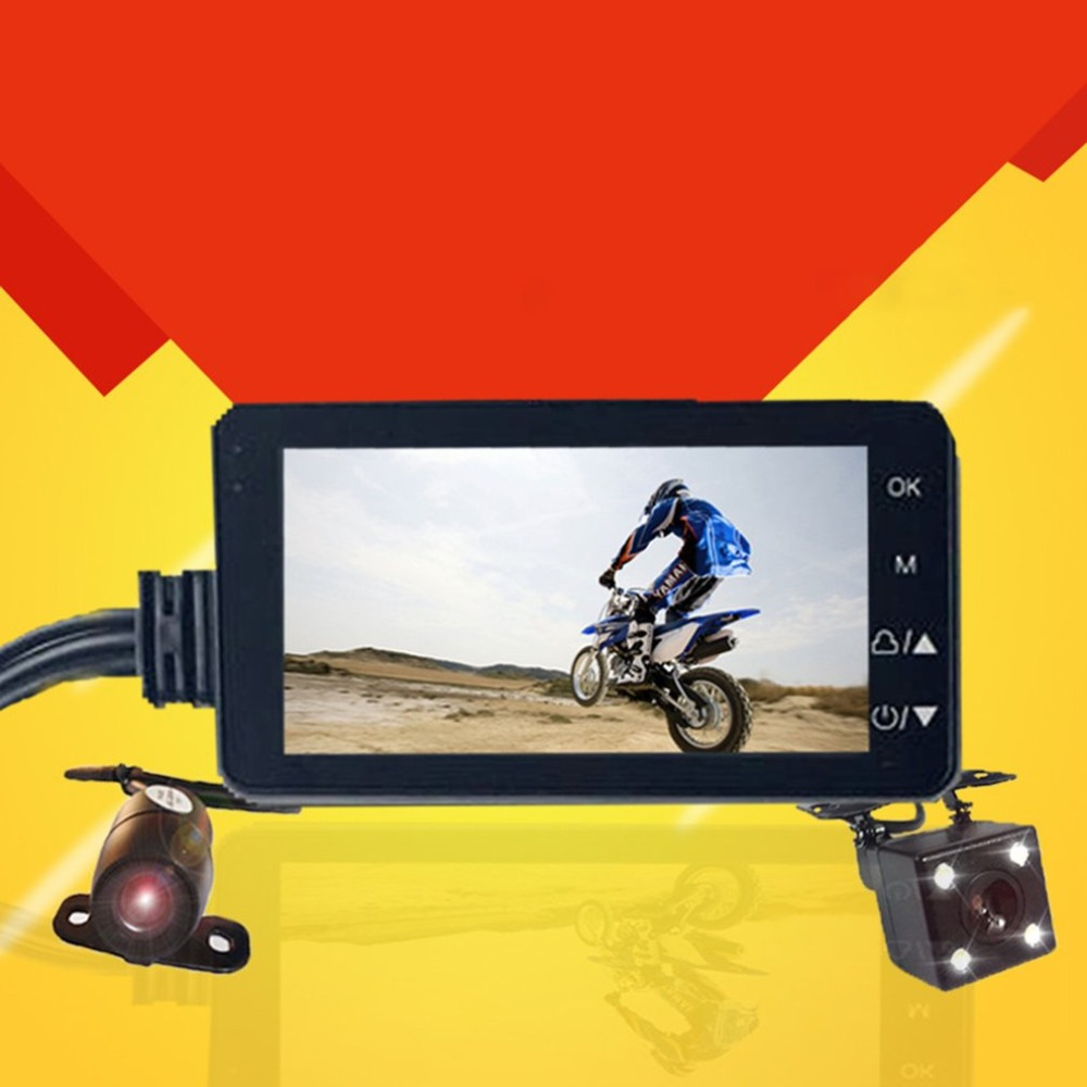 Motorcycle Driving Video Recorder HD LCD with Front and Rear View Camera 140 Degree Wide Angle Support Night VisionMotorcycle Driving Video Recorder HD LCD with Front and Rear View Camera 140 Degree Wide Angle Support Night Vision