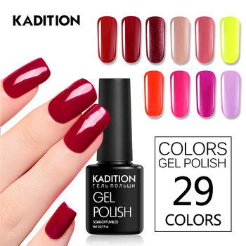 KADITION Color Nail Gel Polish 29 Colors 8ML Nail Art Diy Soak Off Gel Uv Led Nail Enamel UV Nail Gel Polish Lacquer Varnishes