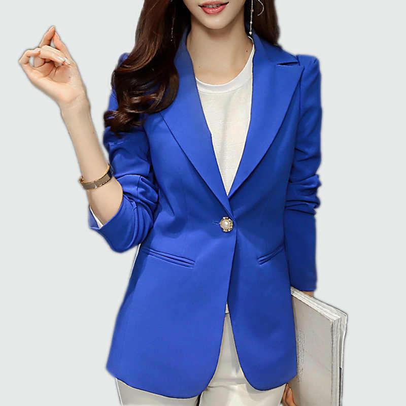 a31d0d8d5b40 Дамы пиджак 2018 с длинным рукавом Blaser Для женщин пиджак Офисные женские  туфли женственный Блейзер Femme