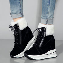 Winter Fur Creepers Womens Lace Up Cow Leather Super High Heel Ankle Boots Wedges Platform Pumps Punk Goth Trainers Casual Shoes