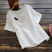 Vintage style oriental col en v fait à la main bouton coton lin à manches courtes chemise femmes