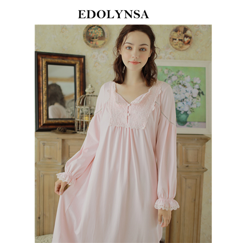 Vintage Victorian Nightgown Long Sleeve Sleepwear Women Home Wear Princess  Style Night Dress Honeymoon Nightdress Nightwear H790 ae8254ef5