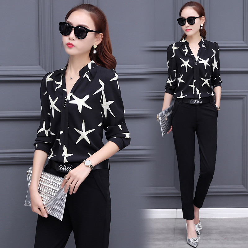 chiffon print blouse top two-piece autumn outfit new korean fashion suit women black pants suits design slim lady costume S-XL