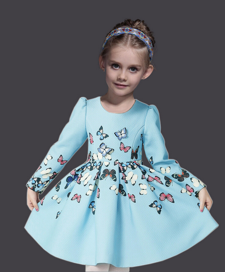 ФОТО Christmas Dress Fashion Princess Dress with Butterfly Winter Long Sleeve Kids Dresses for Girls European Style Children Dress