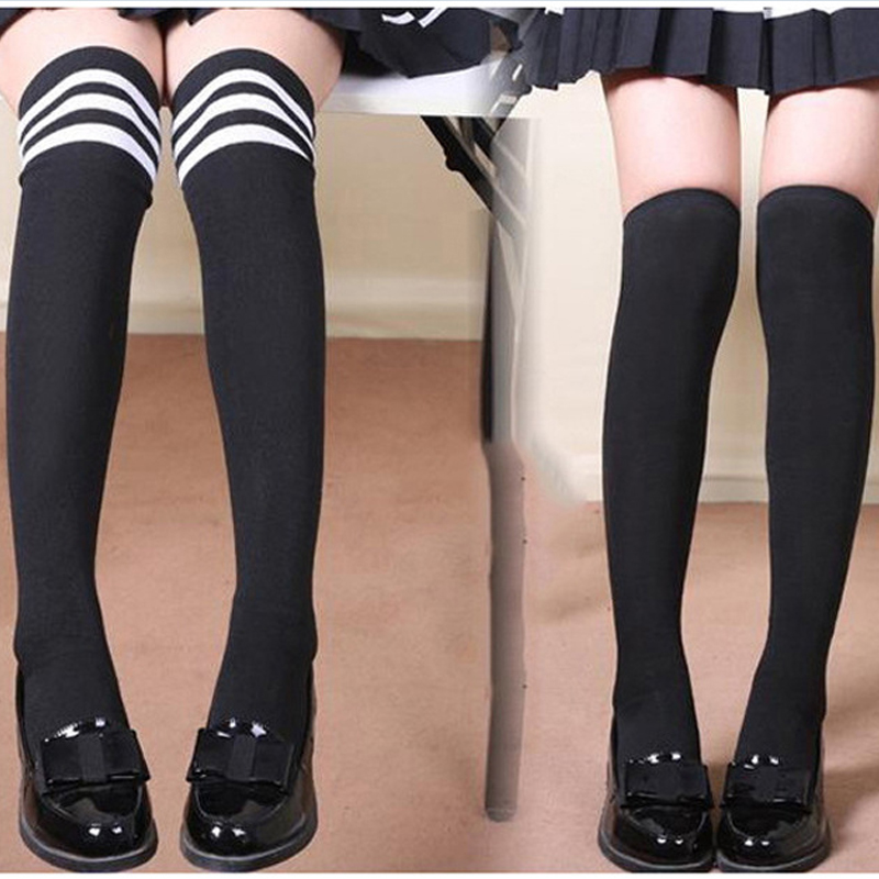 Women High Over The Knee Socks Opaque Japanese School Student Black Warm Long Stripe Thigh Stockings for Girl Teenager U010