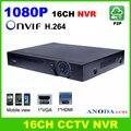 16-канальный 1080 P XMeye Приложение для mobile view Onvif NVR h.264 P2P сети цифровой видеорегистратор