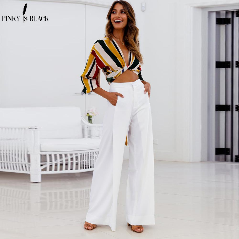 PinkyIsBlack Women   Wide     Leg     Pants   High Waist Zipper Waist Trousers OL   Pants   Long Culottes   Pants   Long Trouser 2018 Pantalon Femme