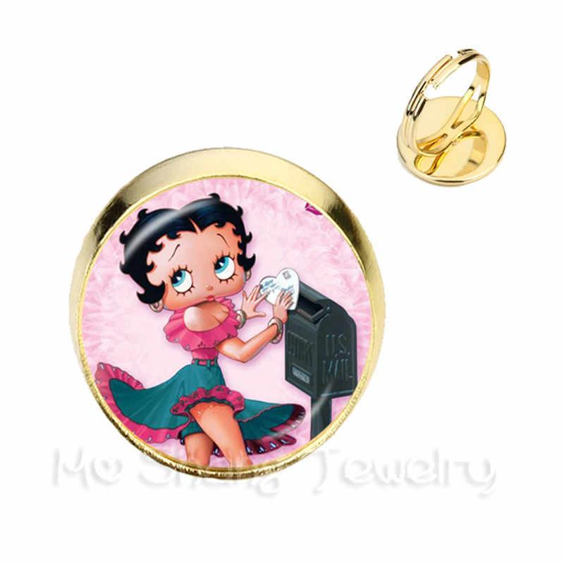 2018 ใหม่ Betty Boop น่ารักการ์ตูน Silver และ Golden แหวนปรับเซ็กซี่ Betty Boop เครื่องประดับโรแมนติก