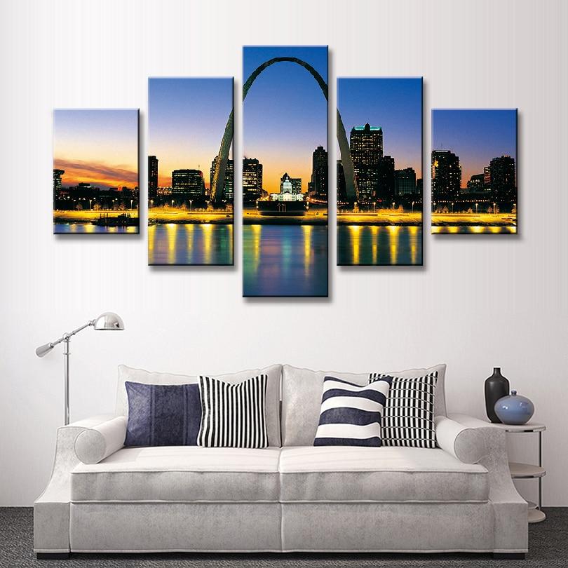 Home Decor St Louis Mo: 5 Pcs/Set Landscape American City Painting Printed On