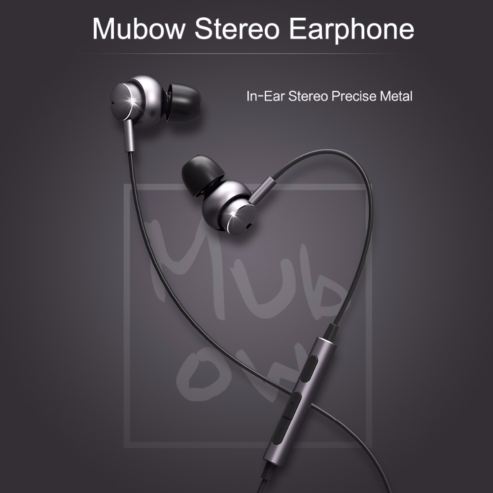 ROCKSPACE Mubow Strong Bass Hifi Stereo Earphone With Mic In-Ear Earbuds For Xiaomi 3.5mm Aux Noise Cancelling Metal Microphone xiaomi miui 3 5mm stereo in ear earphone w microphone blue