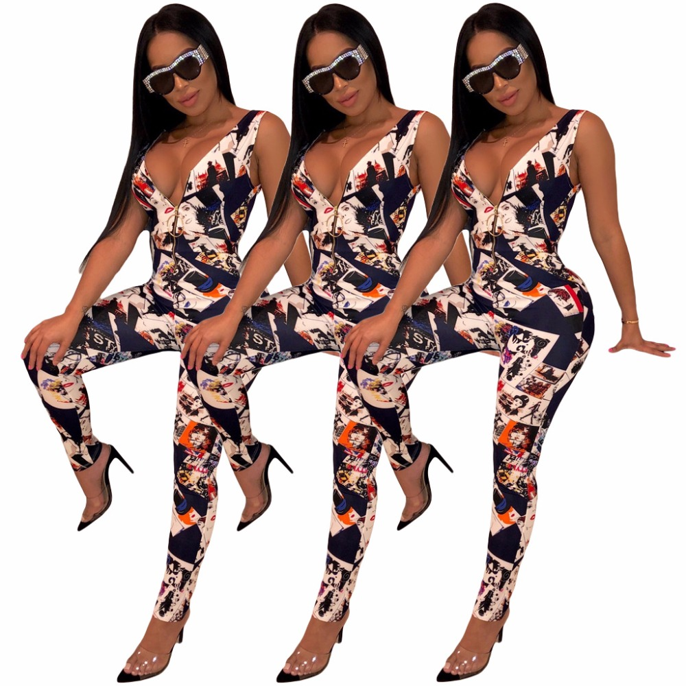 Deep V Neck Sexy Body-con Jumpsuit Summer Fashion Printed High Street Bodysuit Women Sleeveless Party Zip Overall Romper M7177 Women's Clothing