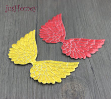 jusHomey 1000pcs 10cm Large Laser Angel Wing Appliques Single Sided Glitter Fabric Cupid Wings Cut Outs Scrapbook Party Decor