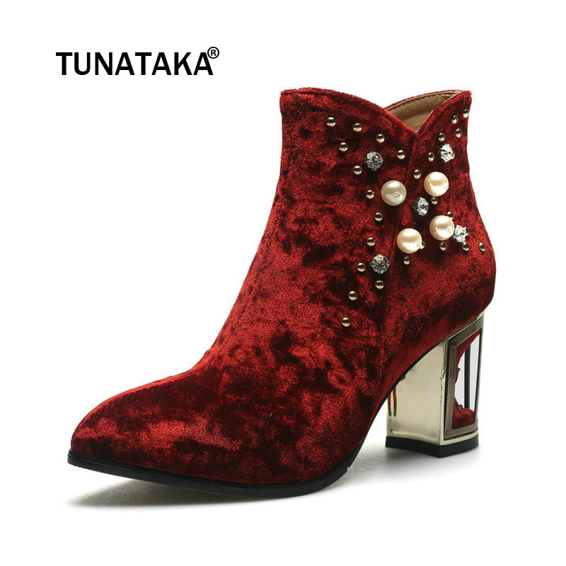 цены Women Suede Thick High Heel With Side Zipper Ankle Boots Fashion Rivet Crystal Women Shoes Black Wine Red